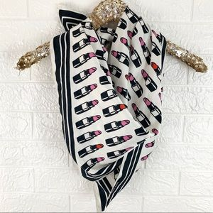 H&M satin lipstick print square scarf